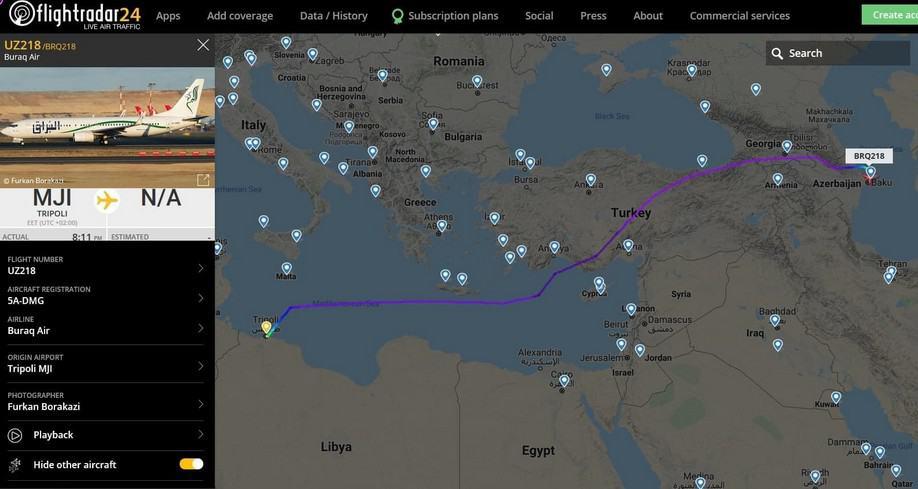 Flight from Libya to Baku