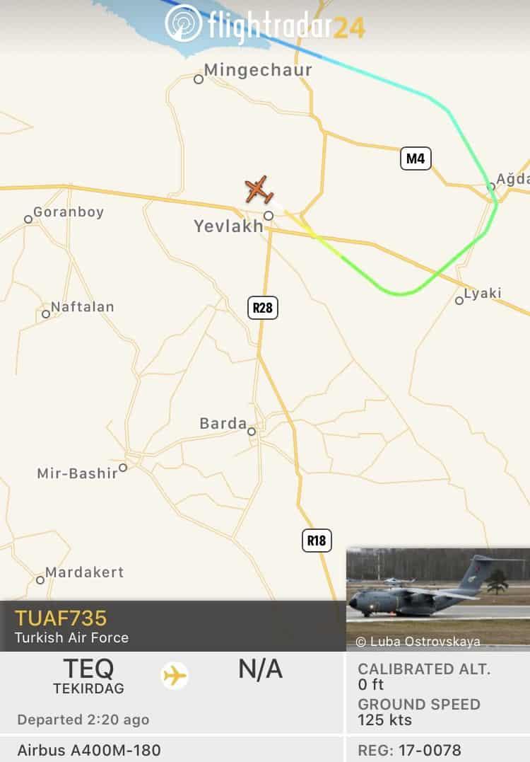 A Turkish military flight landing at Yevlakh military airpor